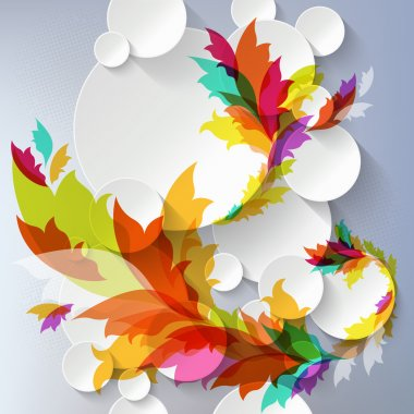 Abstract 3D Template with floral elements