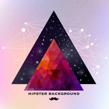 Hipster background made of triangles and space background stock vector