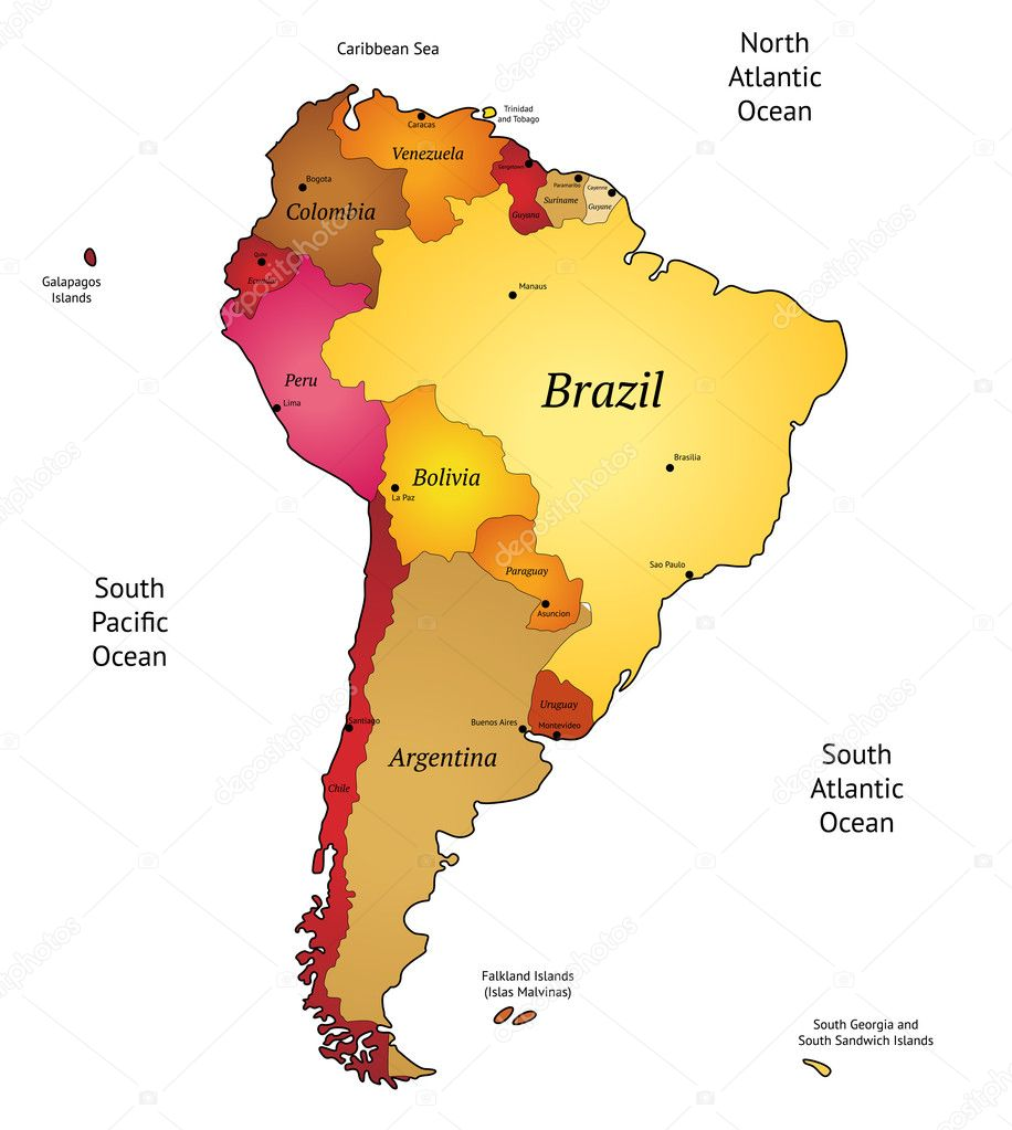 Map Of Latin America Stock Vector C Ildogesto 12593877