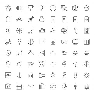 Thin Line Icons For Leisure, Sport, Travel and Weather