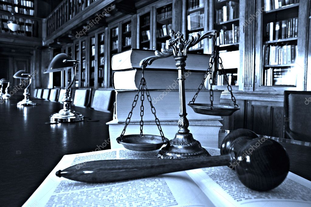 Decorative Scales of Justice in the library