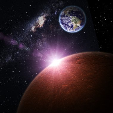 Earth and Mars in space. Elements of this image furnished by NASA.