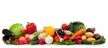 Fresh ripe vegetables on white background stock vector