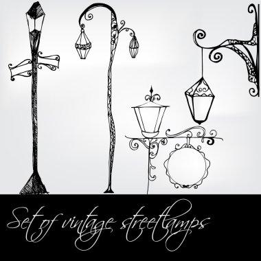 set of vintage streetlamps - vector illustration