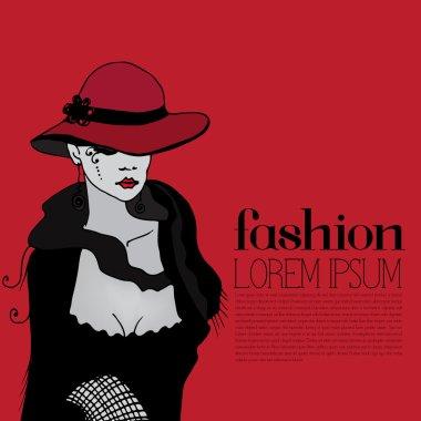 illustrated beautiful elegant woman - vector illustration