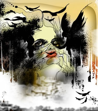 abstract illustration with a woman and crows