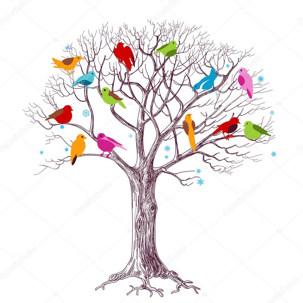 Birds Christmas tree vector