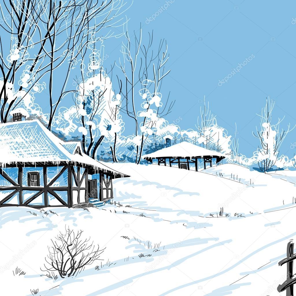 Kış Karlı Manzara Vektör çizim Stok Vektör Danussa 19707019