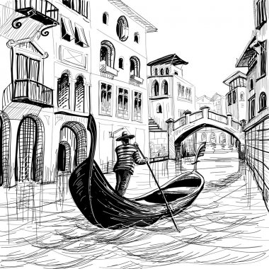 Gondola in Venice vector sketch stock vector