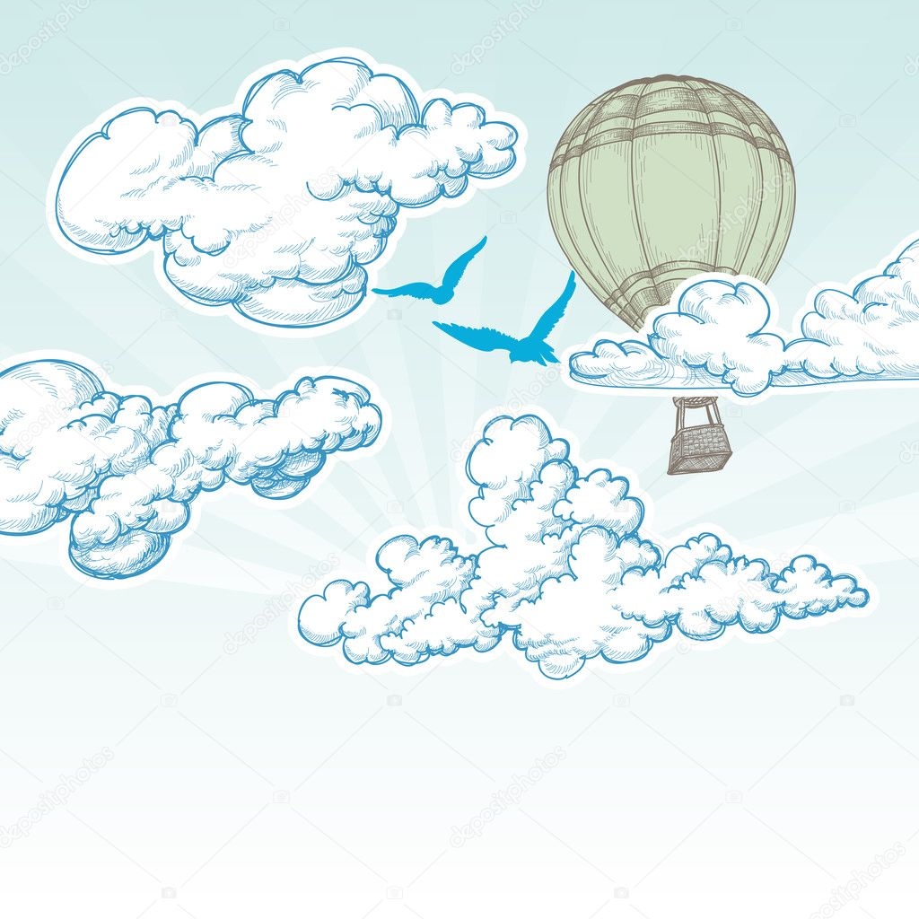 Hot air balloon over blue sky vector illustration, holiday trave