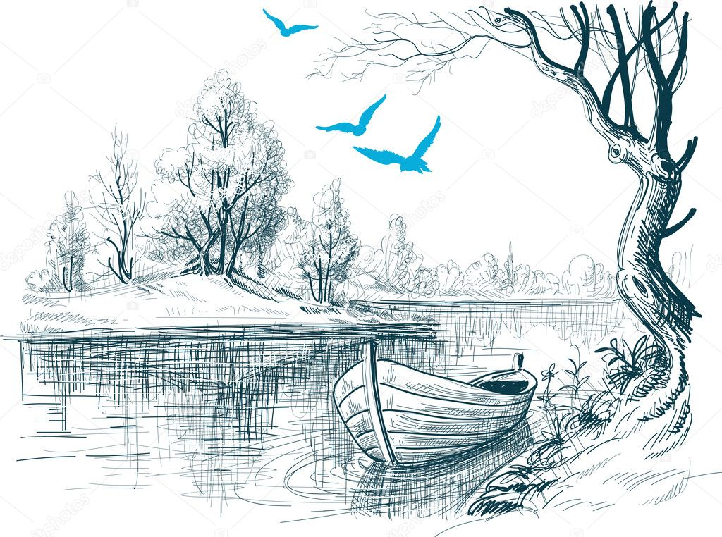 Boat on river delta vector sketch