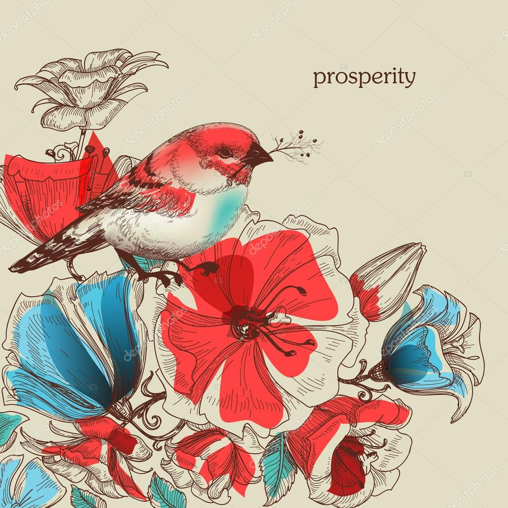 Flowers and bird vector illustration, greeting card, prosperity