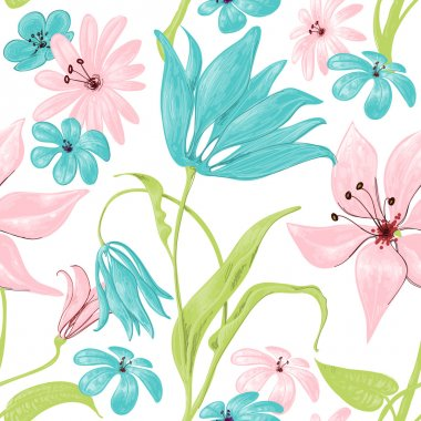 Floral seamless pattern or background, retro style over white