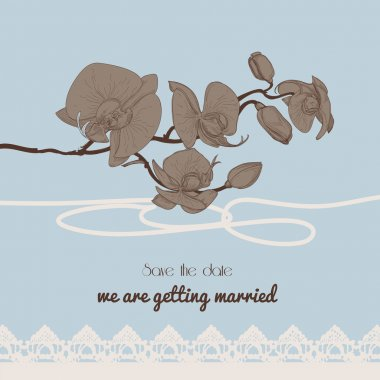 Vintage style wedding invitation, orchid twig and old-fashioned