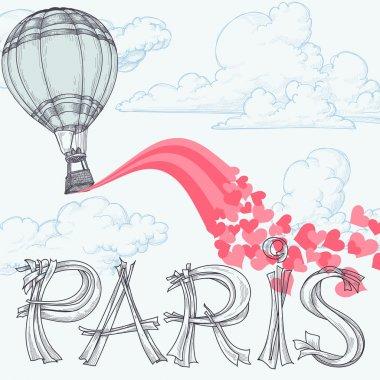 Paris, city of love concept, hot air balloon, pink hearts over the sky clip art vector