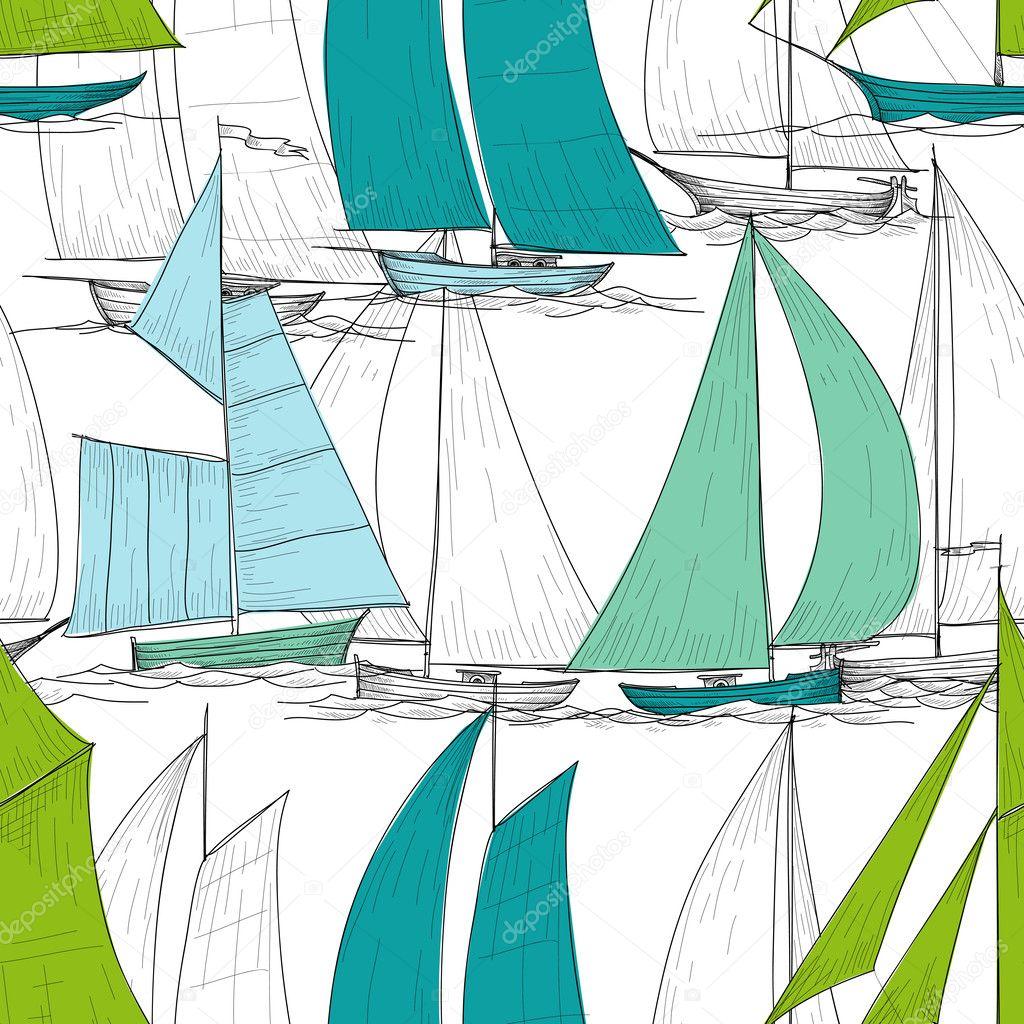 vector de patrones sin fisuras de barcos — Vector de stock © Danussa ...