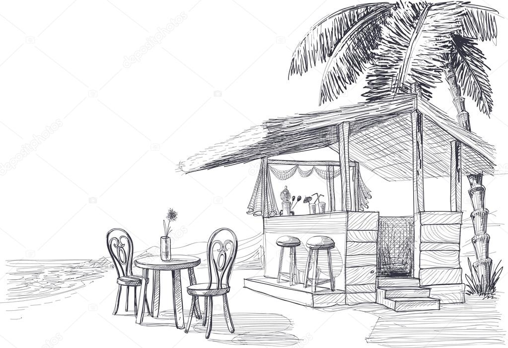 Beach bar vector sketch