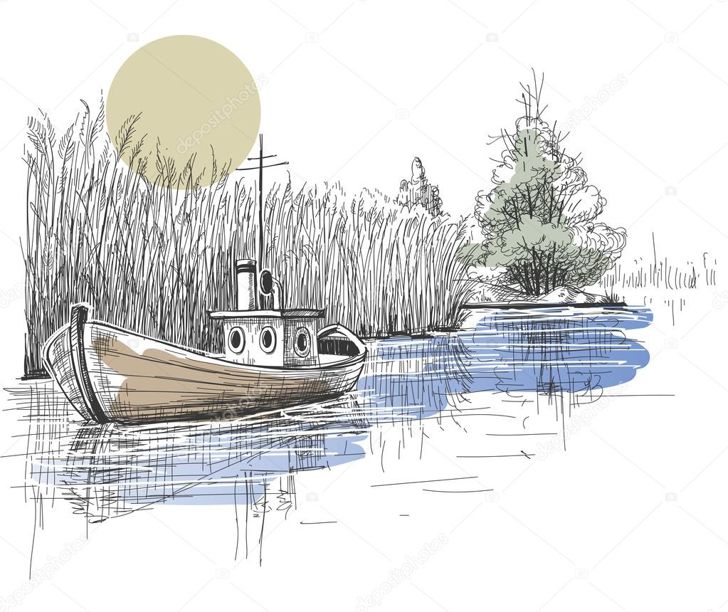 Boat on lake, river vector