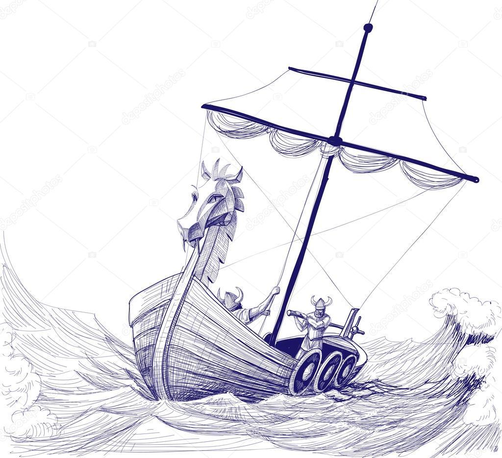 Segelschiff bleistiftzeichnung  langes Boot drakkar Bleistiftzeichnung — Stockvektor © Danussa #49596053