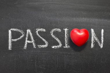 Passion word handwritten on chalkboard with heart symbol instead of stock vector