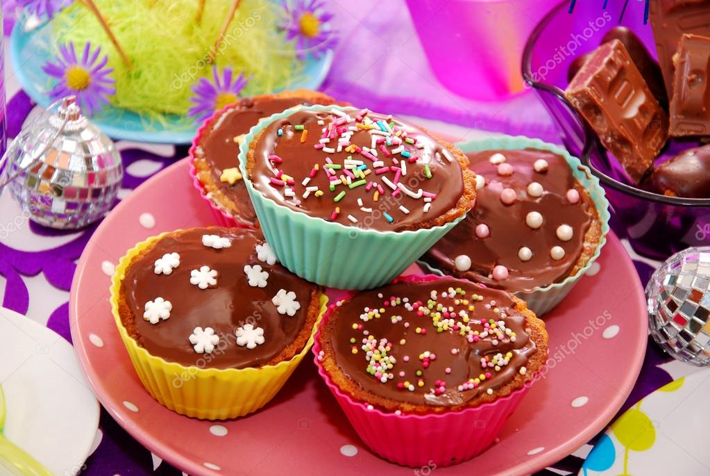 Homemade Muffins On Birthday Party Table Stock Photo Teresaterra