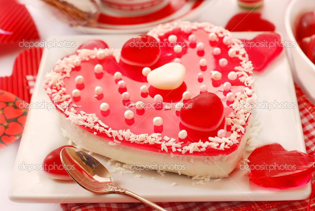 Gelee Torte In Herzform Für Valentinstag U2014 Stockfoto #18460769