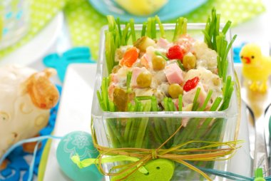 vegetable salad with ham and mayonnaise for easter