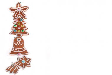 christmas border with gingerbread cookies isolated on white