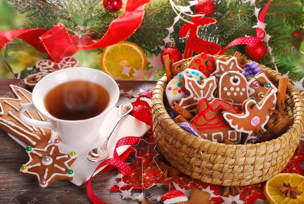 Christmas Coffee And Gingerbread Cookies Stock Photo