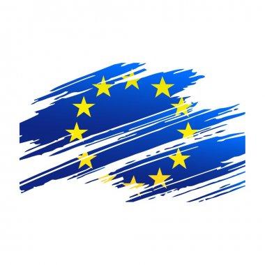 "Картина, постер, плакат, фотообои ""флаг европейского союза в форме кисти следов "", артикул 18481861"