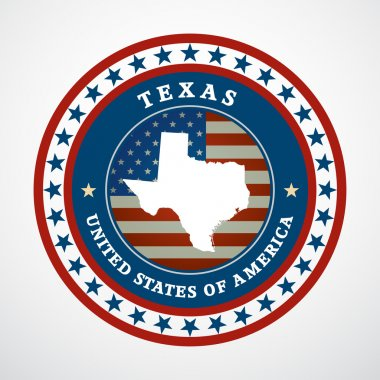 Label with map of Texas, vector