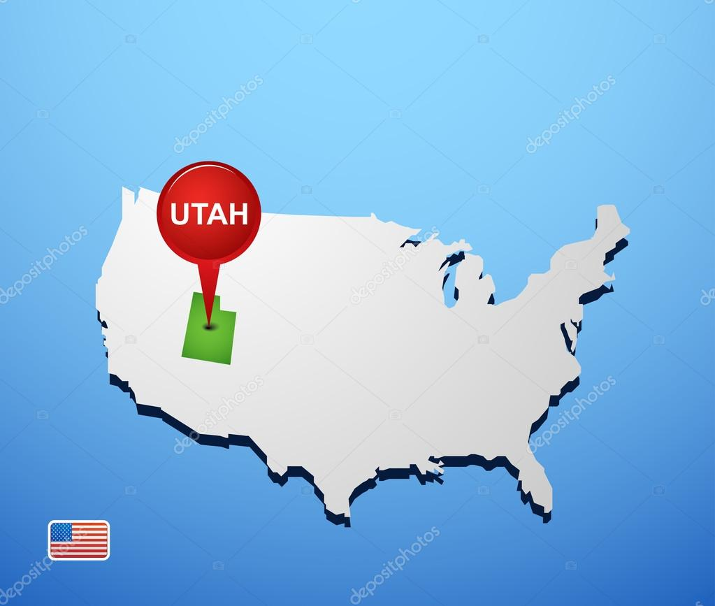 Utah on USA map Stock Vector Hydognik 46977783