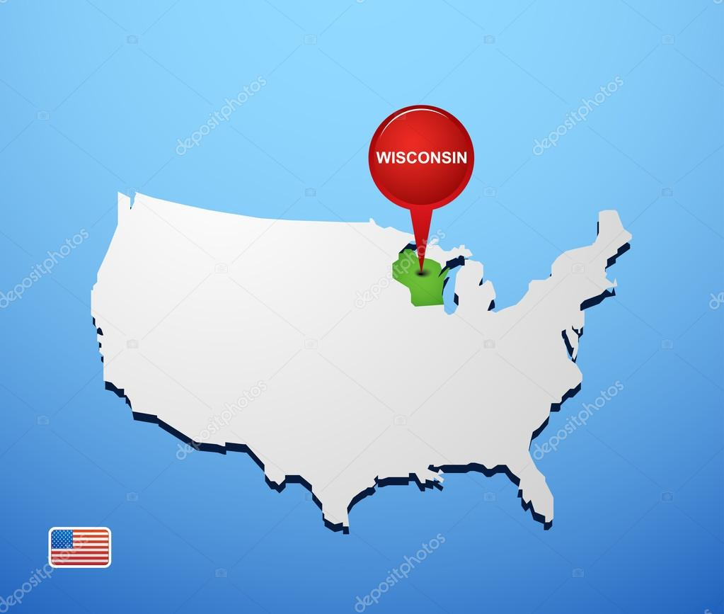 Wisconsin on USA map — Stock Vector © Hydognik #46977931