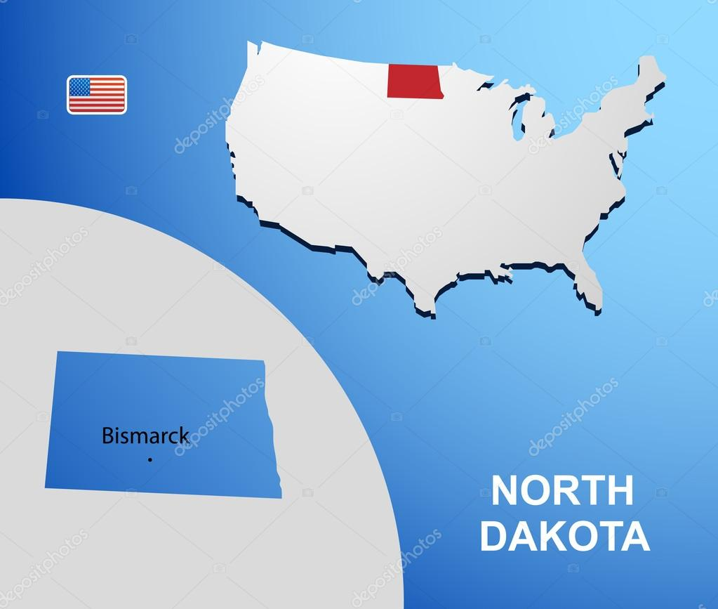 North Dakota On USA Map With Map Of The State Stock Vector - North dakota in usa map