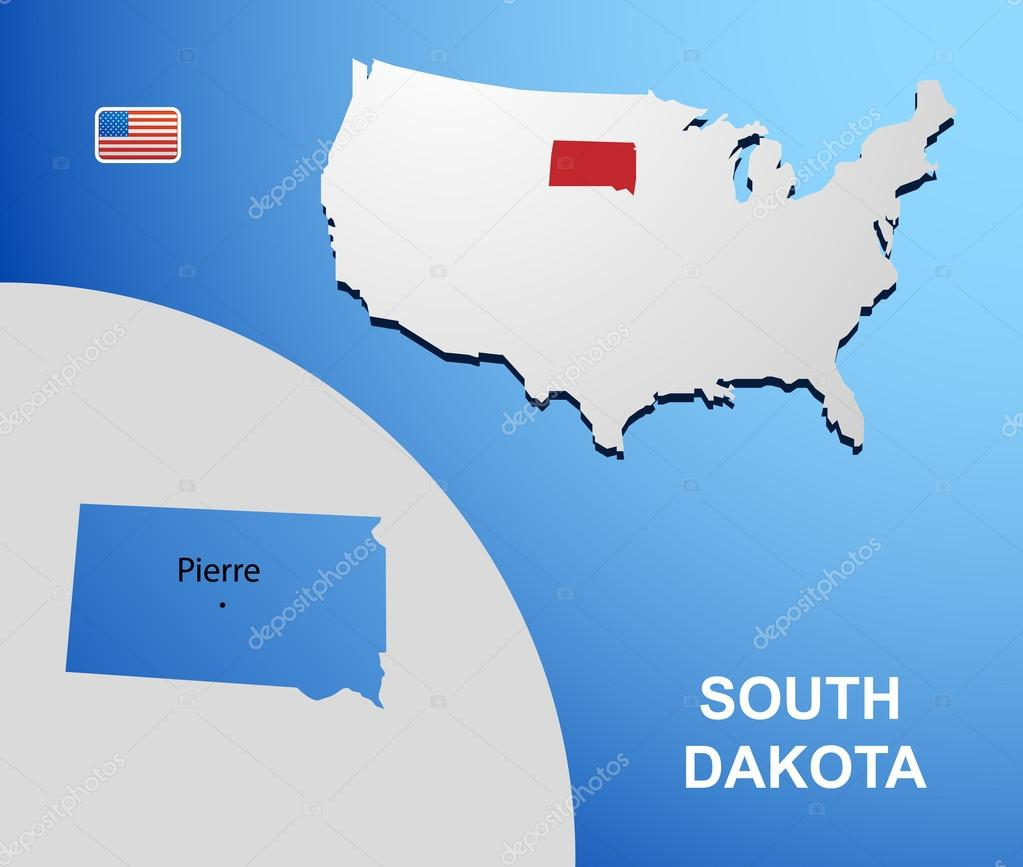 South Dakota On Usa Map With Map Of The State Stock Vector
