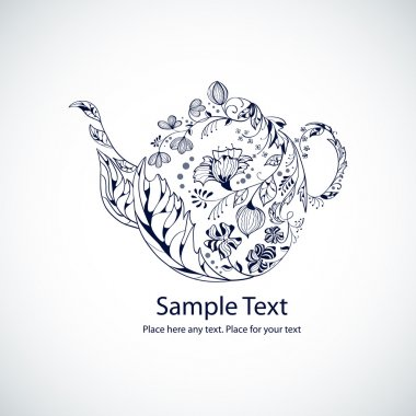 Vector illustration with floral tea pot stock vector