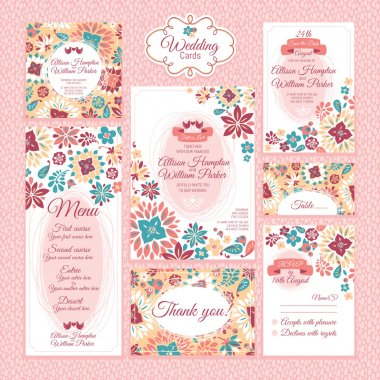Set of floral wedding cards vector illustration stock vector