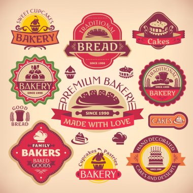 Set of vector vintage various bakery labels stock vector