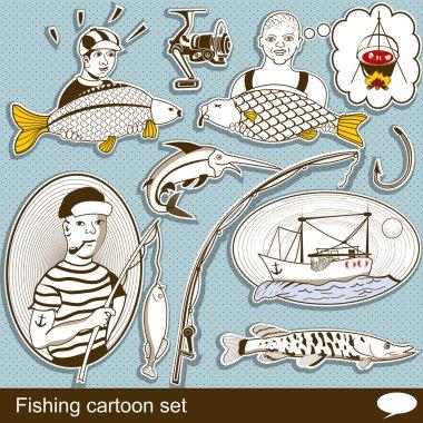 Fishing cartoon set