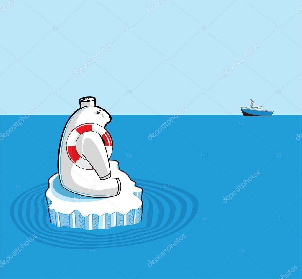 Polar bear on an ice floe. Global warming