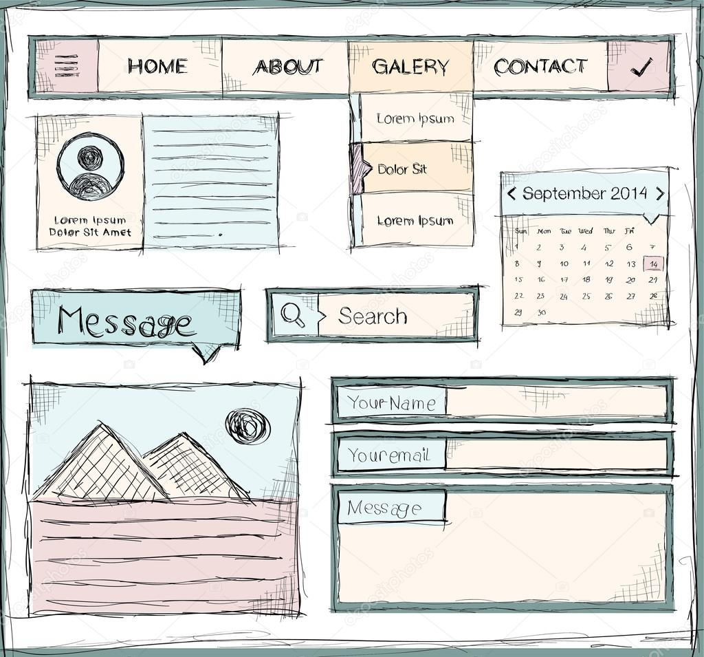 Hand drawing template of website on paper sheet stock for Site web de houseoftheweek