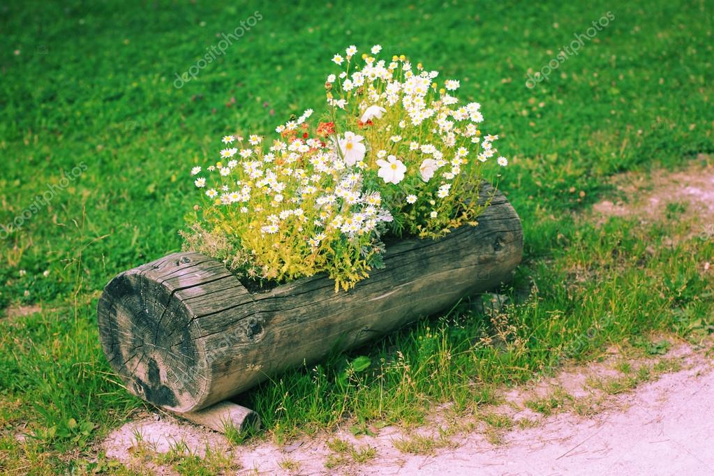 Wooden flower bed