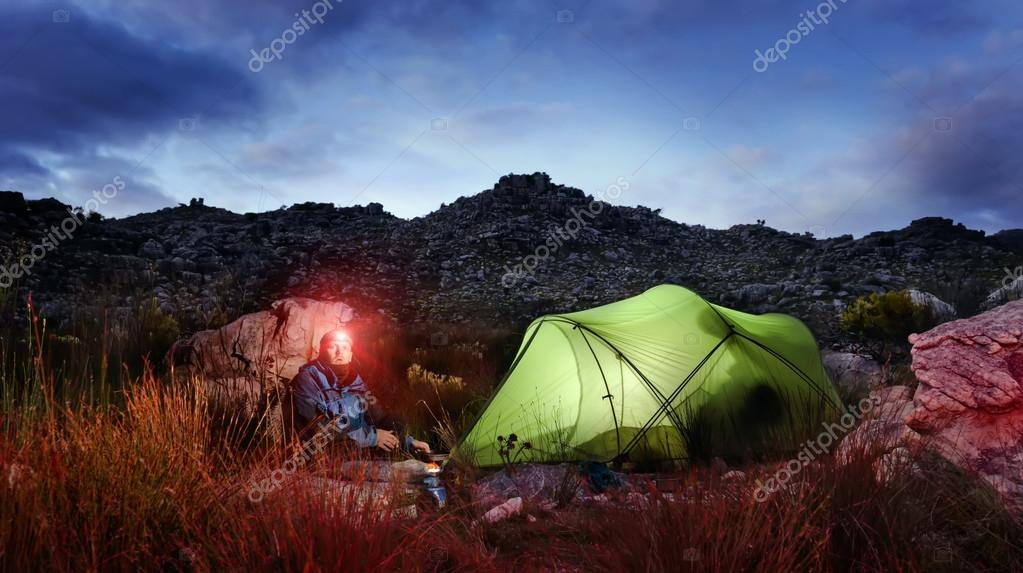 Adventure camping tent night