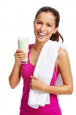 Woman with diet protein shake