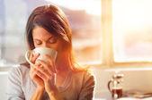 Fotografie Sonnenaufgang Kaffee Frau