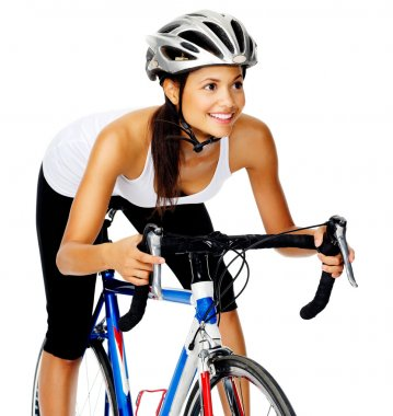 friendly cyclist woman