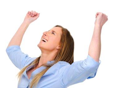 Woman raises her arms overhead in joy stock vector