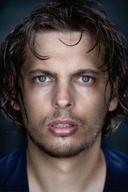 Man portrait fine art wet face conceptual looking at camera stock vector