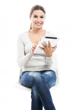 Female student with a tablet