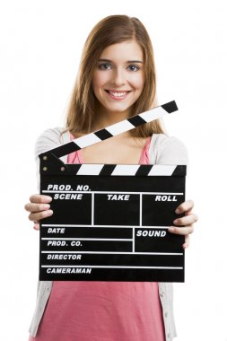 Beautiful blonde woman holding  a clapboard, isolated over white background stock vector